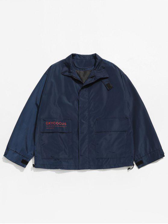latest Hidden Zipper Printed Windproof Jacket - MARBLE BLUE M