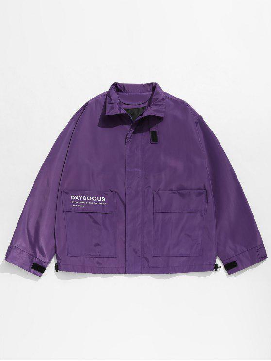 fashion Hidden Zipper Printed Windproof Jacket - PURPLE L