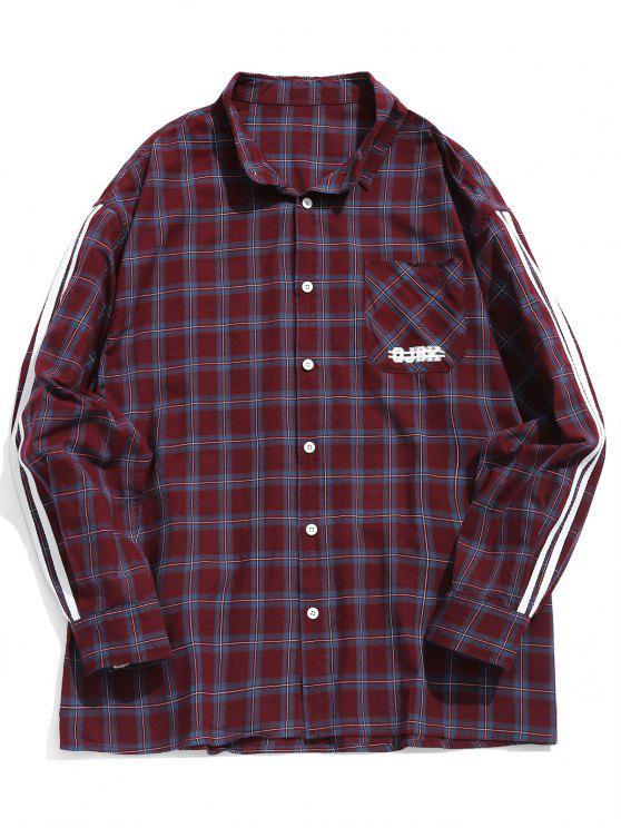 affordable Side Striped Chest Pocket Plaid Shirt - BURNT PINK XL