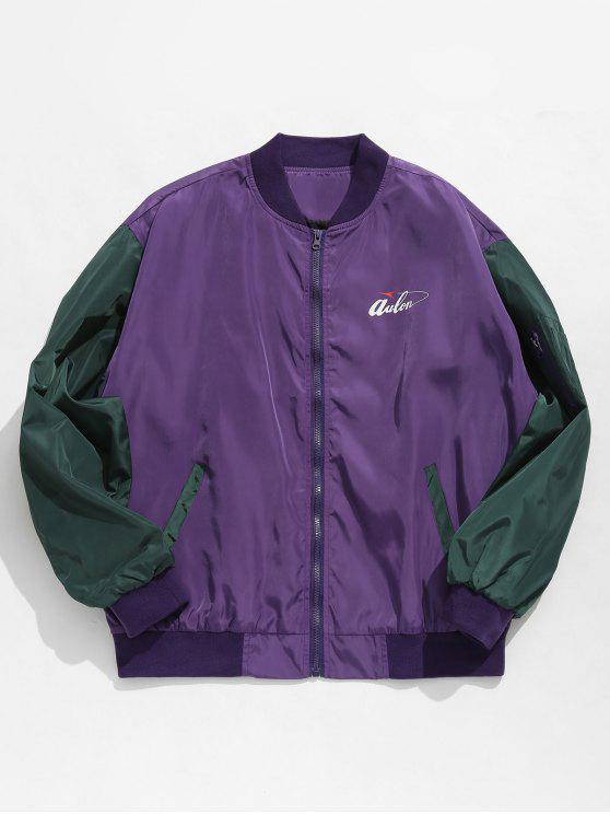 women Hit Color Zipper Embellished Jacket - PURPLE XL