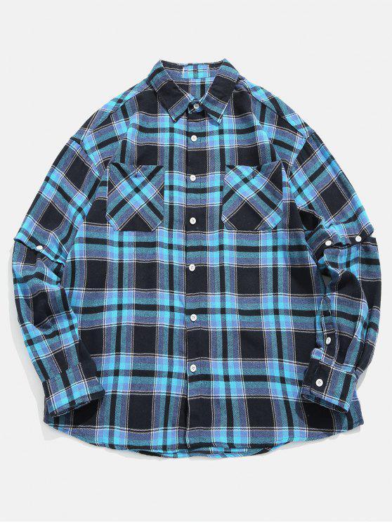 Kariertes umschaltbares Hülsen-Hemd - Dunkel Blau M