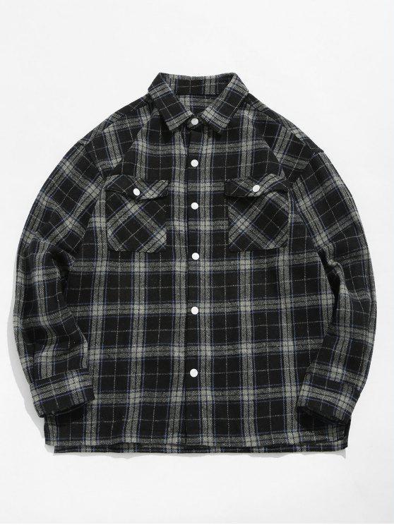 sale Plaid Side Split Shirt - BLACK M