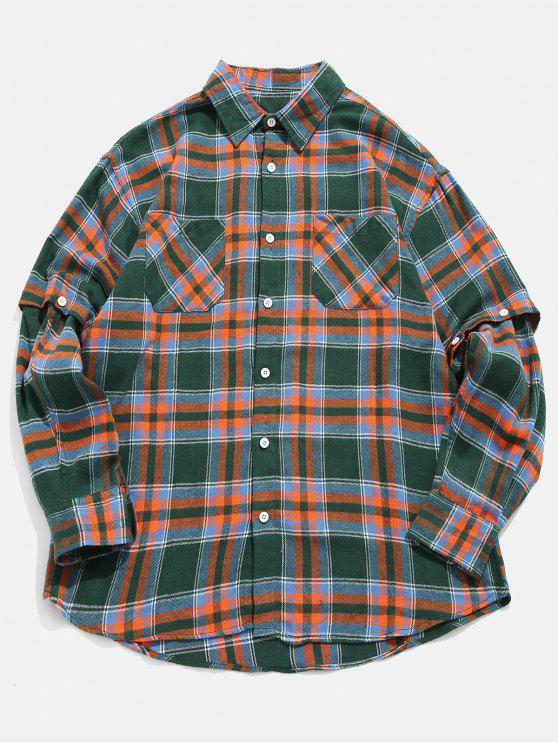 hot Plaid Convertible Sleeve Shirt - SEA GREEN L