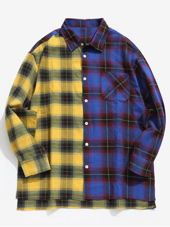 قميص لون كتلة جيب منقوشة - أزرق XL
