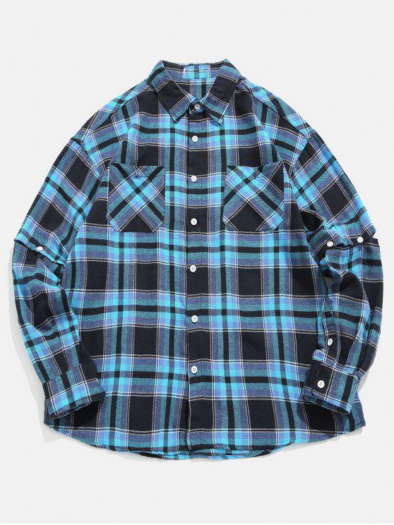 women Plaid Convertible Sleeve Shirt - DEEP BLUE XL