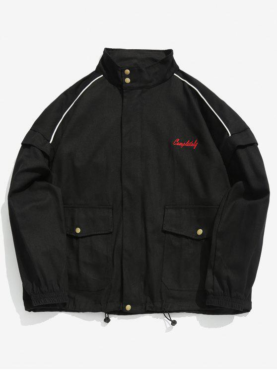 trendy Zip Up Letter Embroidery Cargo Jacket - BLACK 2XL