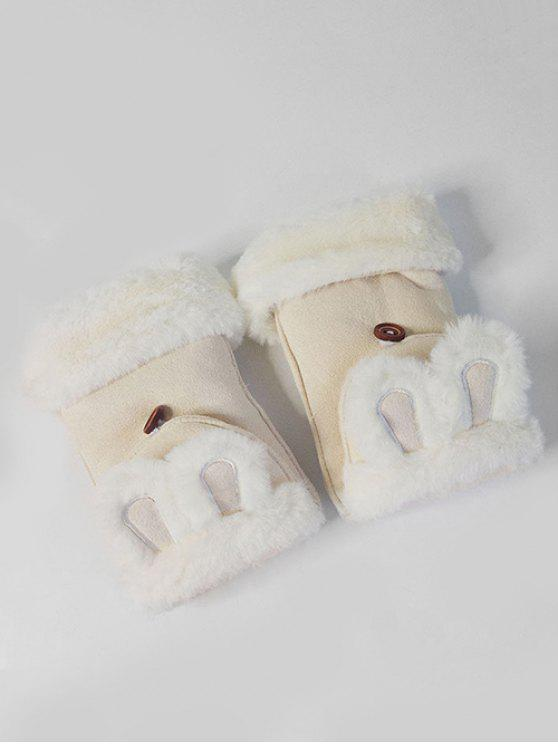 sale Winter Rabbie Ear Decorative Fingerless Gloves - BEIGE