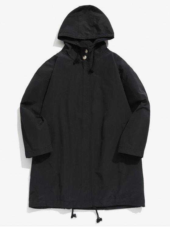 best Zip Up Hooded Trench Coat - BLACK XL