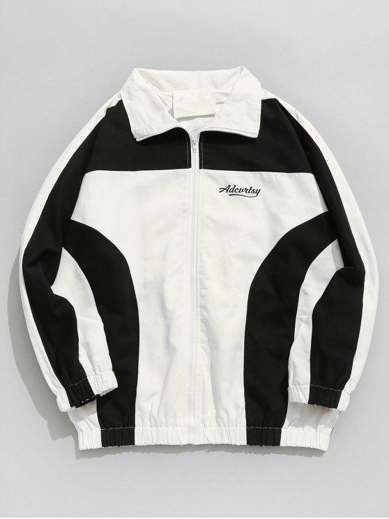 shop Raglan Sleeves Two Tone Letter Embroidery Jacket - WHITE L