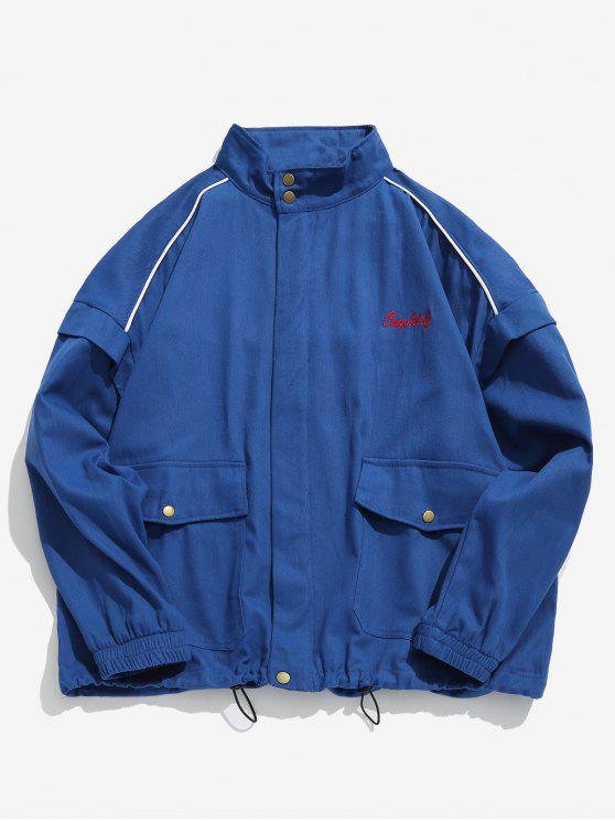 fancy Zip Up Letter Embroidery Cargo Jacket - BLUE XL