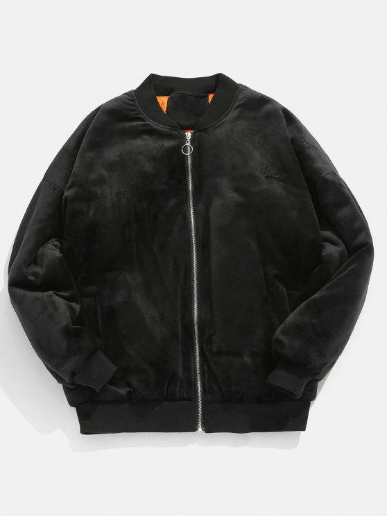 shops Letter Embroidery Padding Velvet Coat - BLACK XL