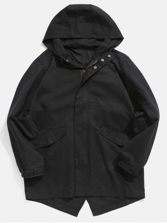 best High Low Hem Hooded Coat - BLACK M