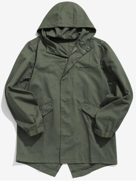 chic High Low Hem Hooded Coat - ARMY GREEN M