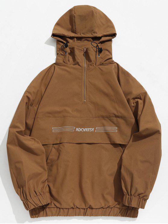 Chaqueta con capucha y bolsillo con cremallera y media cremallera - Marrón XL