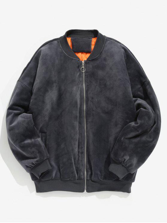 Velours Gray Manteau Rembourré En Lettre Brodée Black E9H2ID