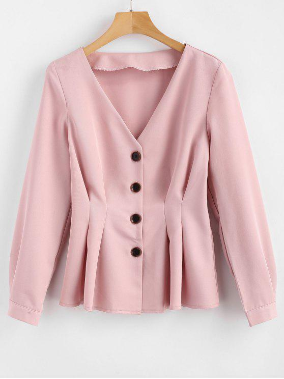 trendy V Neck Pleated-detail Blazer - PINK M