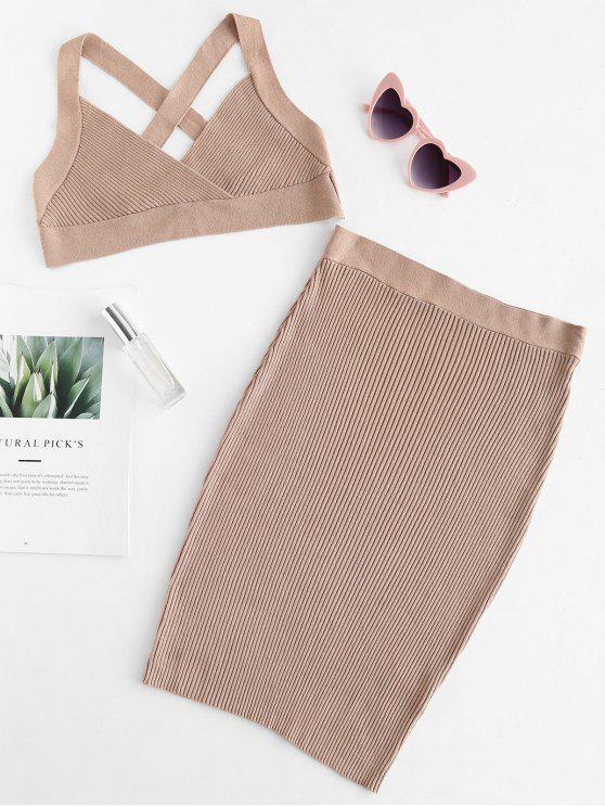 shop Criss Cross Crop Top and Skirt Set - LIGHT KHAKI L