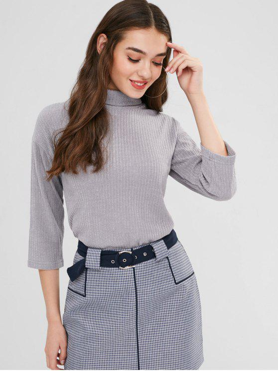 trendy Wide Sleeve Ribbed Roll Neck Sweater - GRAY M