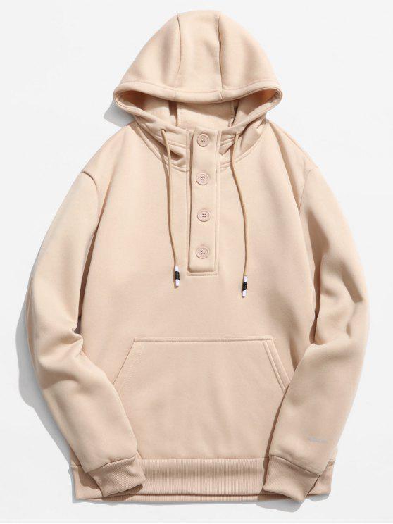 online Buttons Embellished Fleece Hoodie - KHAKI S