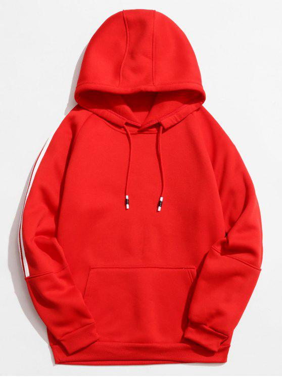 shops Rinbbon Splicing Raglan Sleeve Hoodie - RED XS
