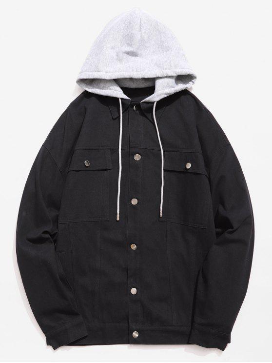 Chaqueta con capucha de un solo pecho con diseño de múltiples bolsillos - Negro 2XL