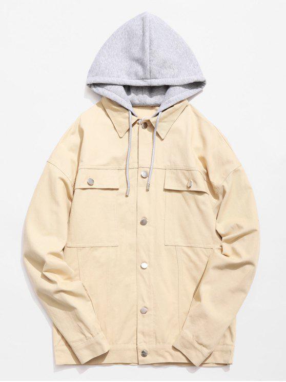 ladies Multi Pockets Design Single Breasted Hooded Jacket - CORNSILK XL