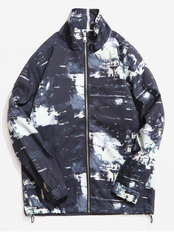 online Stand Collar Camouflage Pattern Jacket - BLACK M