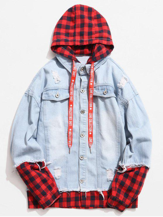 trendy Plaid Spliced Hooded Distressed Denim Jacket - LIGHT BLUE 2XL