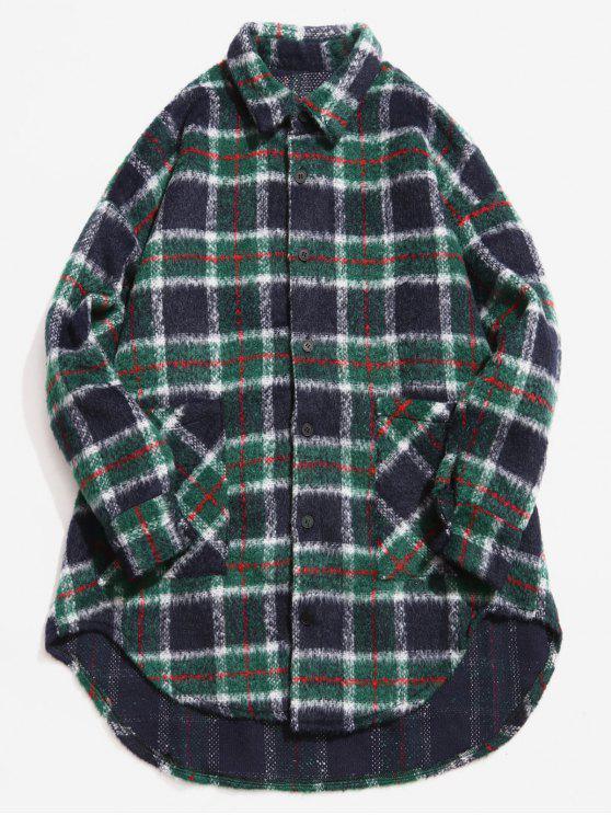 fancy Single Breasted Plaid Pattern Woolen Coat - DARK GREEN XL