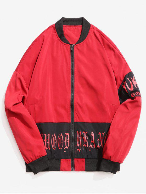buy Letters Printed Stand Collar Zip Fly Jacket - RED L