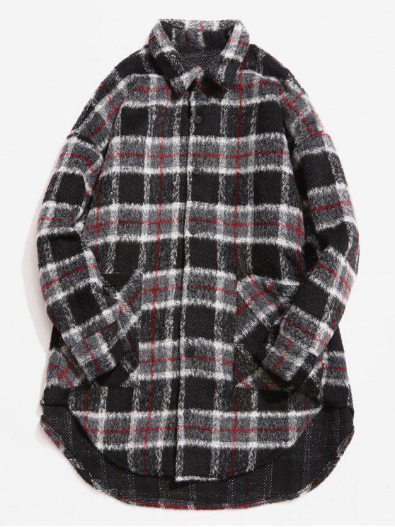 lady Single Breasted Plaid Pattern Woolen Coat - GRAY M