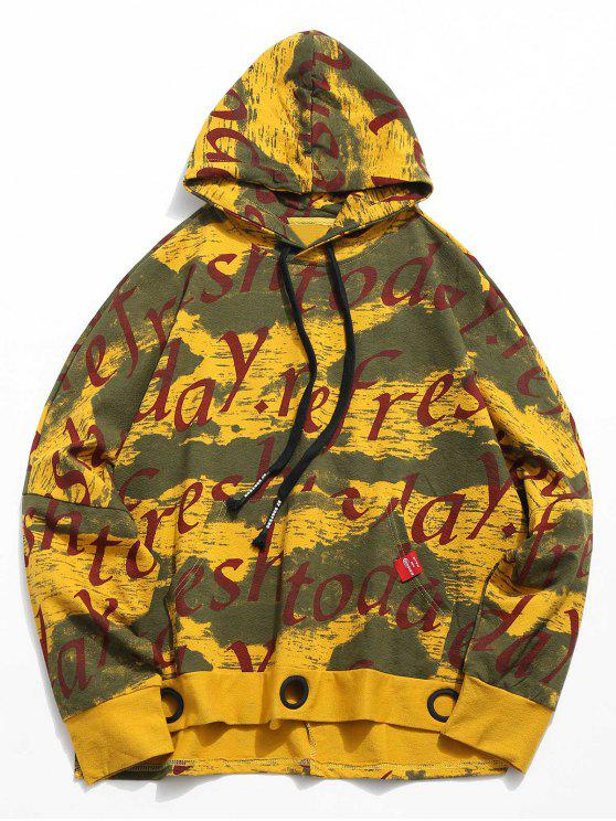 latest Letter Print Batwing Sleeve Hoodie - YELLOW L