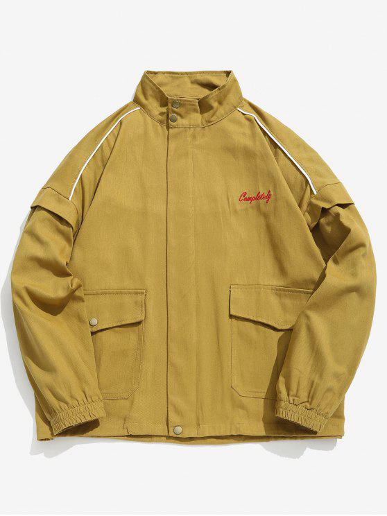 lady Zip Up Letter Embroidery Cargo Jacket - YELLOW XL
