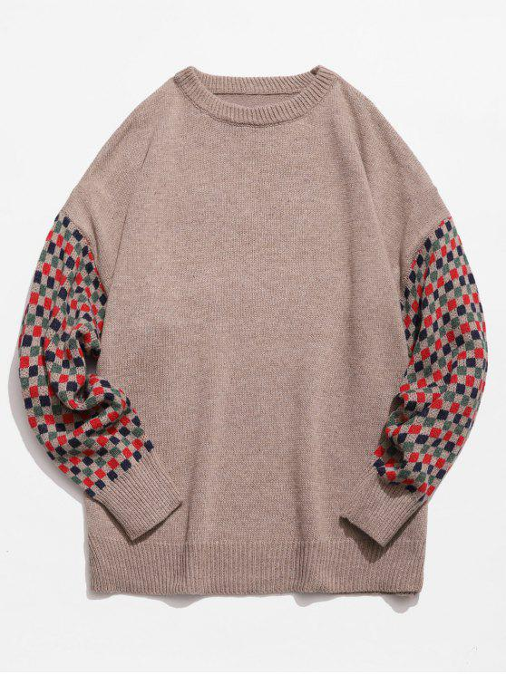new Colorful Checked Patch Knitted Sweater - CAMEL BROWN L