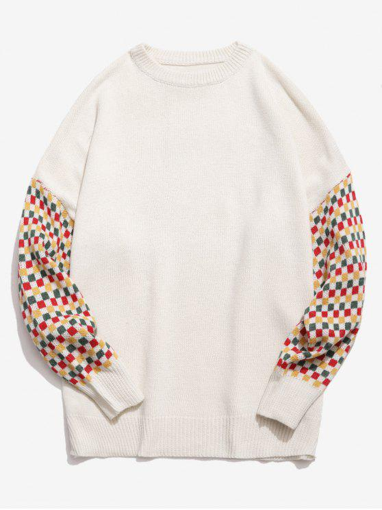 affordable Colorful Checked Patch Knitted Sweater - WHITE XL