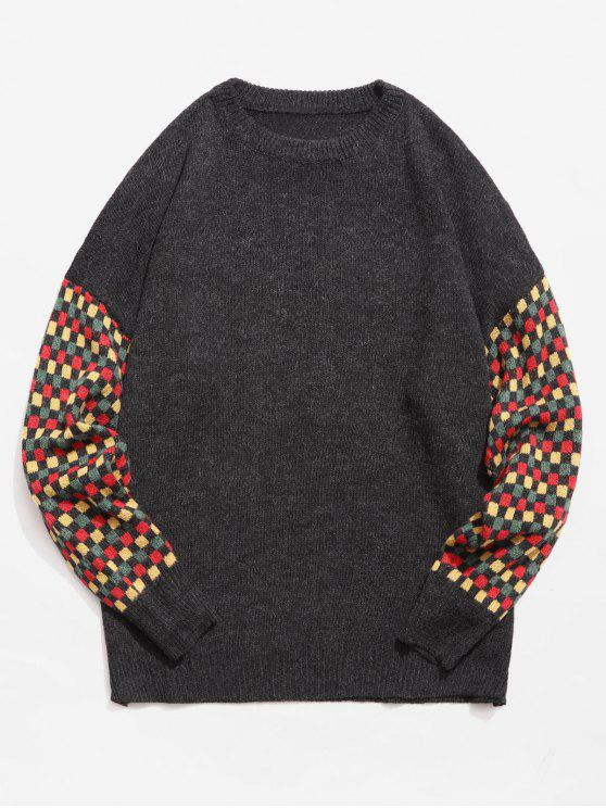 outfit Colorful Checked Patch Knitted Sweater - BLACK L