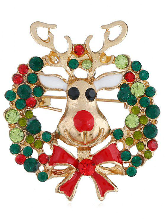 women Colored Rhinestone Christmas Elk Party Brooch - MULTI
