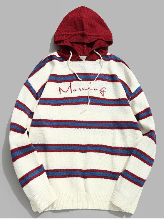 Suéter de punto con capucha y carta bordada a rayas en contraste - Rojo Lava L