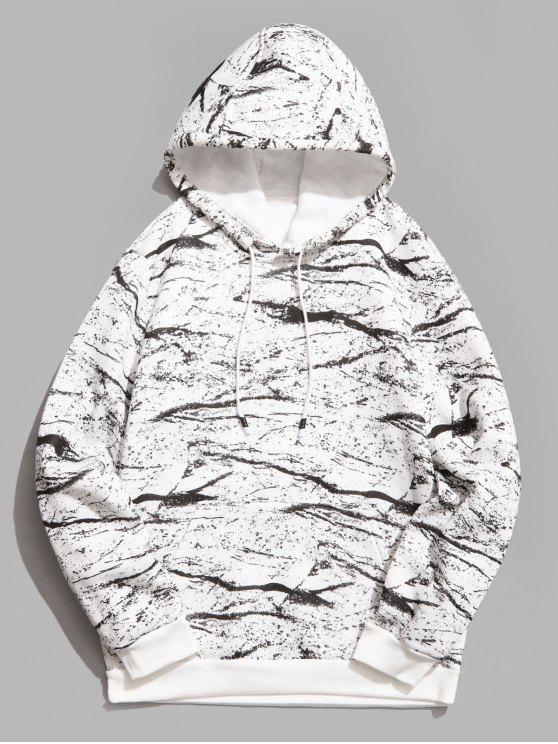 online Marble Pattern Print Hoodie - WHITE L
