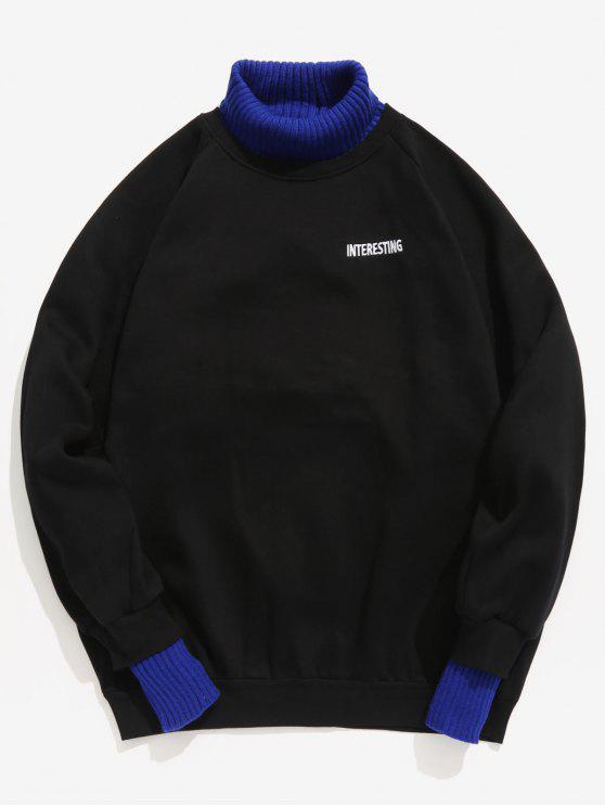 Sudadera con capucha en contraste de Edge Patchwork - Negro L