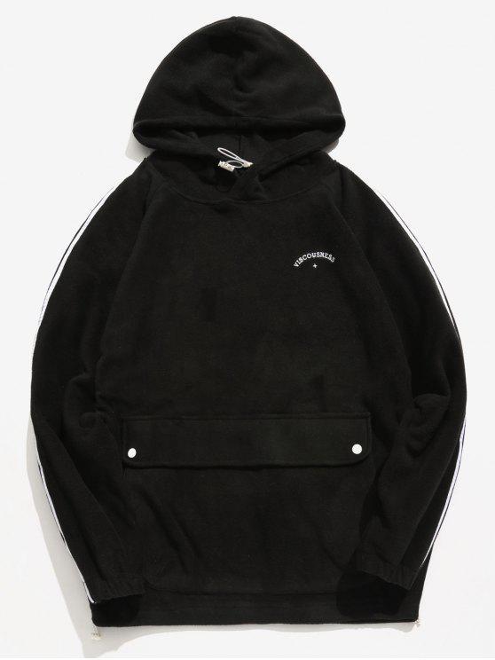 Seitlicher Streifen-Taschen-flaumiger Hoodie - Schwarz L