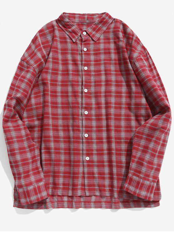 عارضة منقوشة زر حتى القميص - الحمم الحمراء S