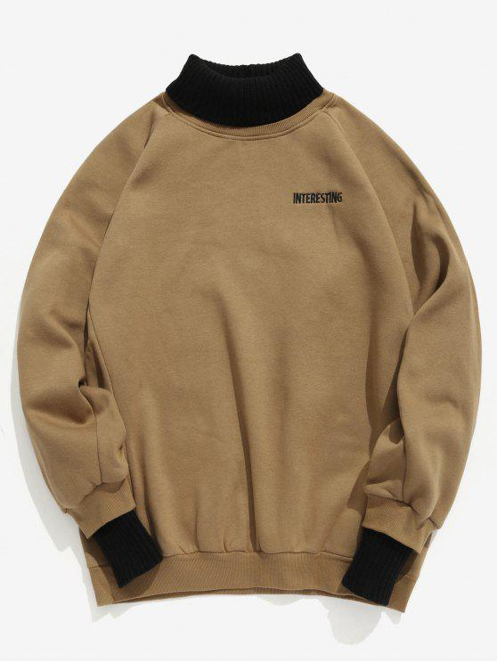 9bbb90d4b303 28% OFF  2019 Edge Patchwork Contrast Fleece Sweatshirt In CARAMEL ...