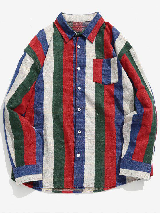 affordable Contrast Vertical Striped Pocket Shirt - LAVA RED M