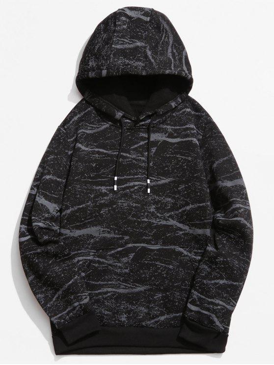online Marble Pattern Print Hoodie - BLACK L