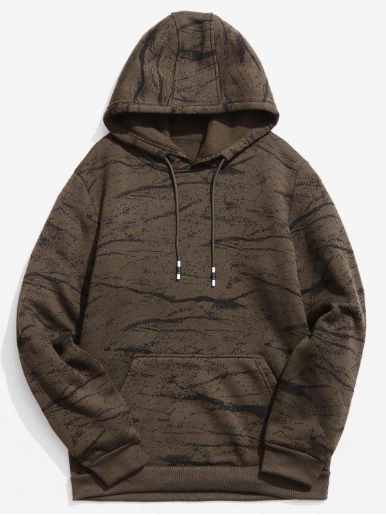 Sudadera con capucha estampada de mármol - Marrón Oscuro S