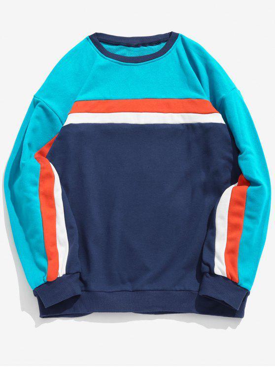 Lässige Farbe Blockstreifen Sweatshirt - Türkis M