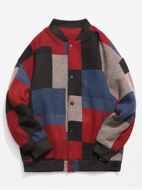 Farbblock Woolen Jacke - Rot 2XL