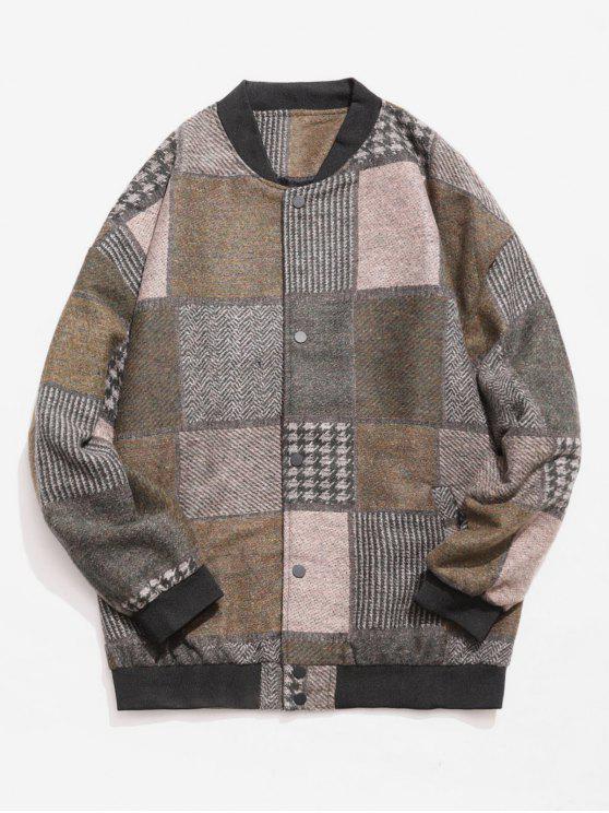 Farbblock Woolen Jacke - Armeegrün 2XL
