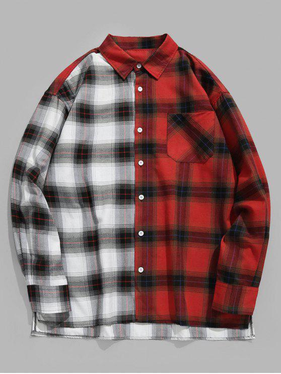 Farbblock Plaid Pocket Shirt - Lava Rot XL
